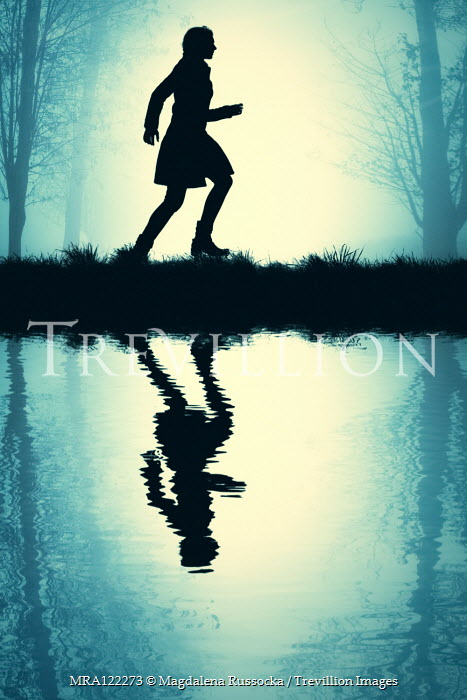 Magdalena Russocka silhouette of modern woman running by river