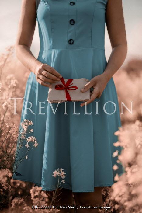Ildiko Neer Woman in blue dress holding bundle of envelopes in meadow