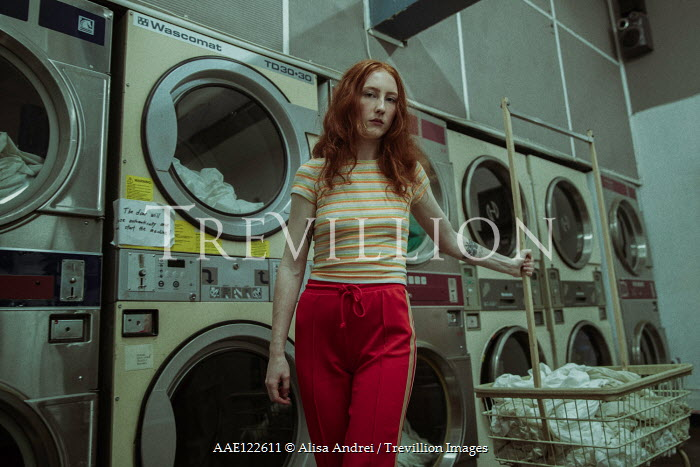 Alisa Andrei GIRL WITH RED HAIR SITTING IN TROLLEY IN LAUNDRETTE Women