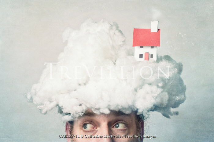 Catherine Macbride Man with cloud and paper house on head