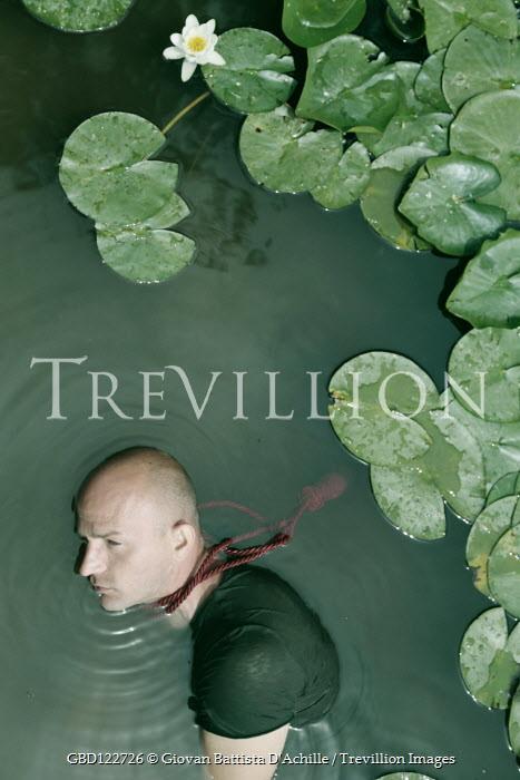 Giovan Battista D'Achille Dead man with rope around his neck in pond