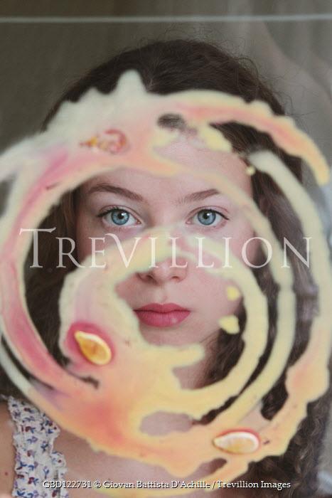 Giovan Battista D'Achille Teenage girl with paint on mirror