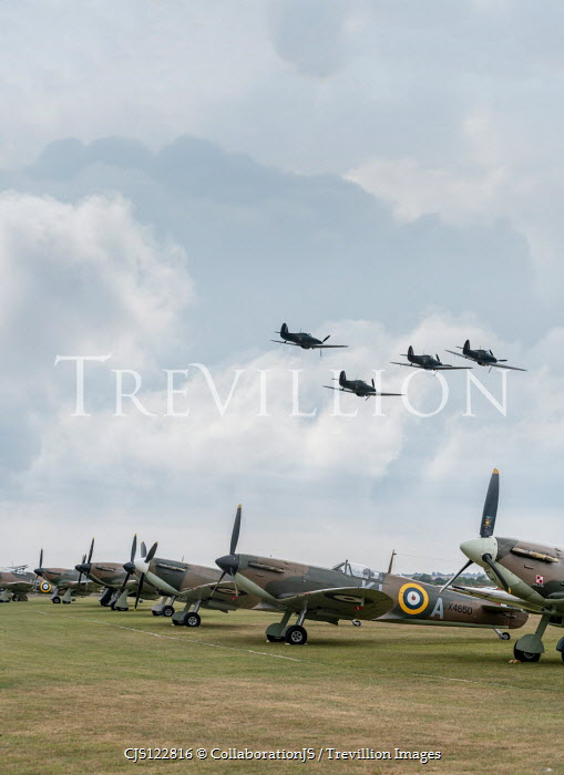 CollaborationJS World War II fighter planes on airfield