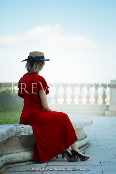 Ildiko Neer Vintage woman sitting on terrace
