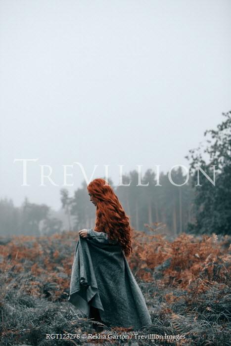 Rekha Garton GIRL WITH RED HAIR WALKING IN WINTRY COUNTRYSIDE Women