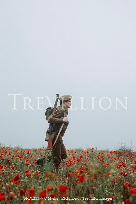 Shelley Richmond SOLDIER WITH RIFLE WALKING IN POPPY FIELD Men