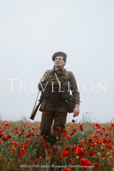Shelley Richmond SOLDIER WITH RIFLE WALKING IN POPPY FIELD Men