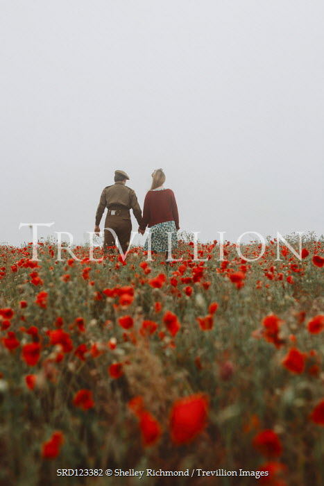 Shelley Richmond WARTIME COUPLE EMBRACING IN POPPY FIELD Couples