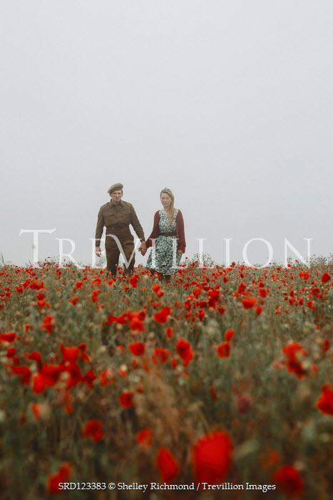 Shelley Richmond WARTIME COUPLE HOLDING HANDS IN POPPY FIELD Couples