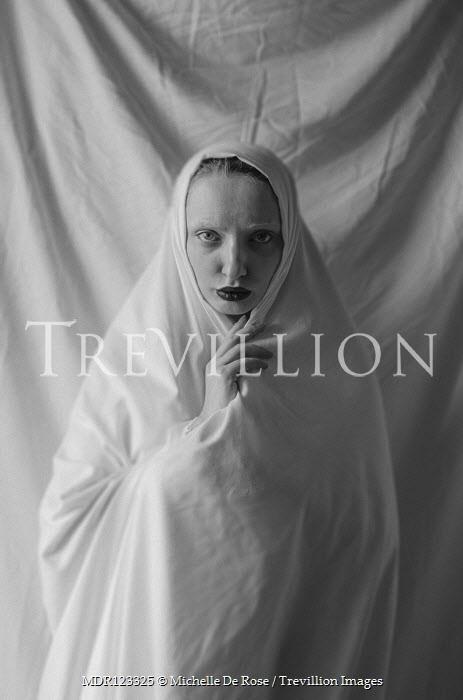 Michelle De Rose STARING WOMAN WRAPPED IN WHITE SHEET Women