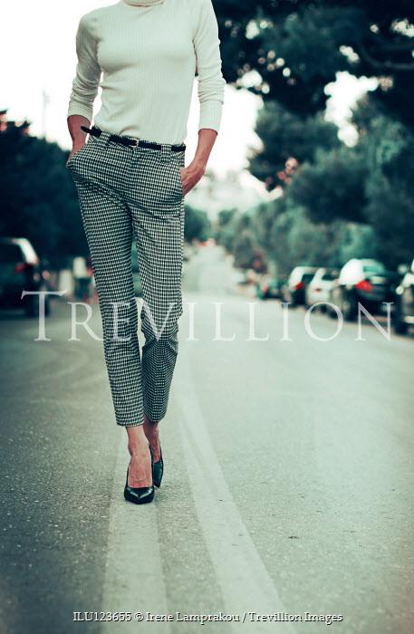 Irene Lamprakou WOMAN IN STILETTOS WALKING IN STREET Women