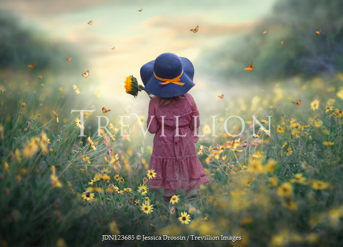 Jessica Drossin LITTLE GIRL HOLDING SUNFLOWER WITH BUTTERFLIES Children