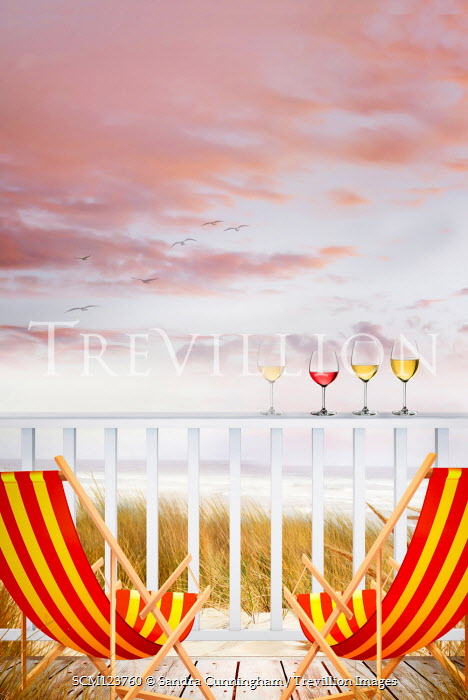 Sandra Cunningham WINEGLASSES AND DECKCHAIRS BY SEA AT SUNSET Seascapes/Beaches