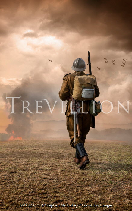 Stephen Mulcahey SOLDIER IN COUNTRYSIDE WITH FIRE AND PLANES FLYING Men
