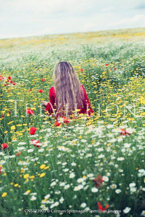 Carmen Spitznagel BLONDE GIRL IN SUMMERY MEADOW OF FLOWERS Children