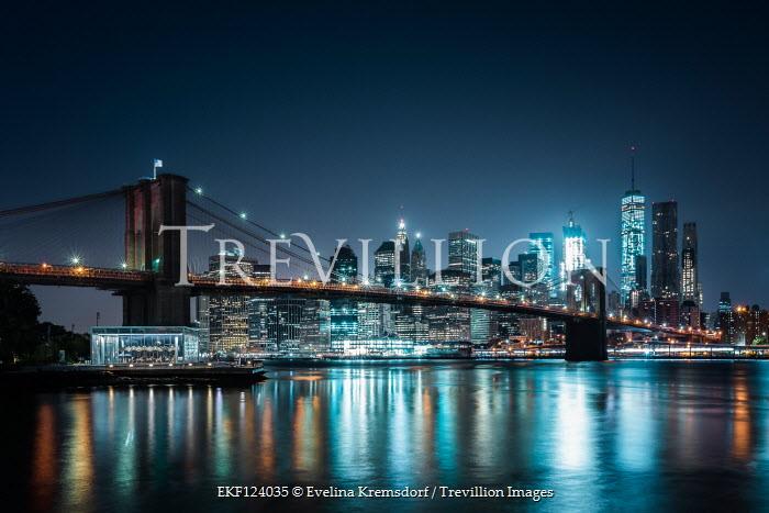 Evelina Kremsdorf Brooklyn Bridge and New York City at night