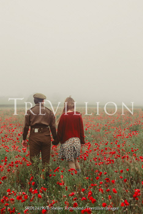 Shelley Richmond 1940s soldier and woman walking in field