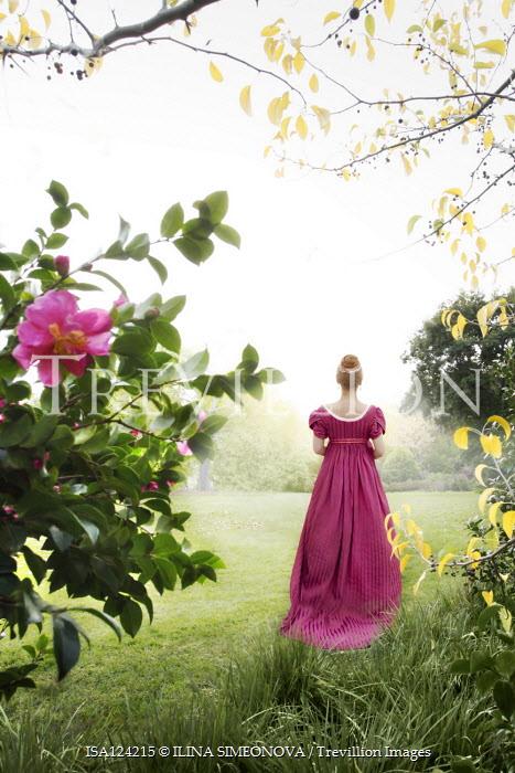 ILINA SIMEONOVA BLONDE REGENCY WOMAN IN GARDEN WITH FLOWERS Women