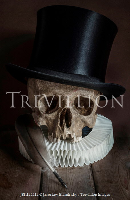 Jaroslaw Blaminsky SKULL WITH TOP HAT RUFF AND QUILL Miscellaneous Objects