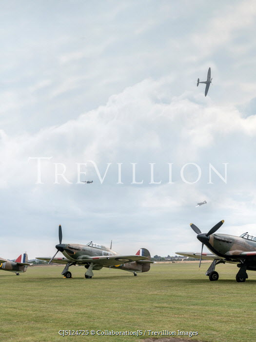 CollaborationJS hawker hurricanes parked on a ww2 RAF airfield