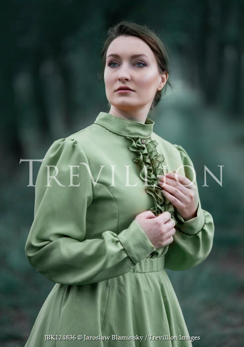 Jaroslaw Blaminsky Woman in Victorian green dress