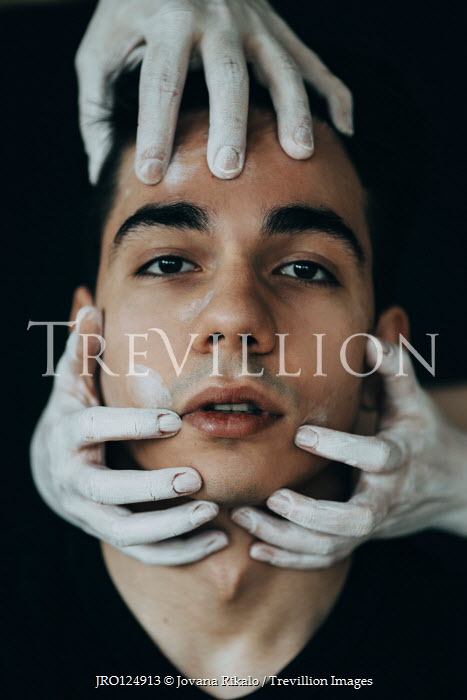 Jovana Rikalo FACE OF MAN WITH DARK HAIR AND WHITE HANDS Men