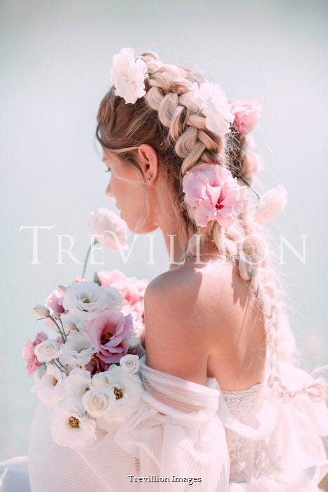 Jovana Rikalo BLONDE WOMAN IN WEDDING DRESS WITH BOUQUET Women