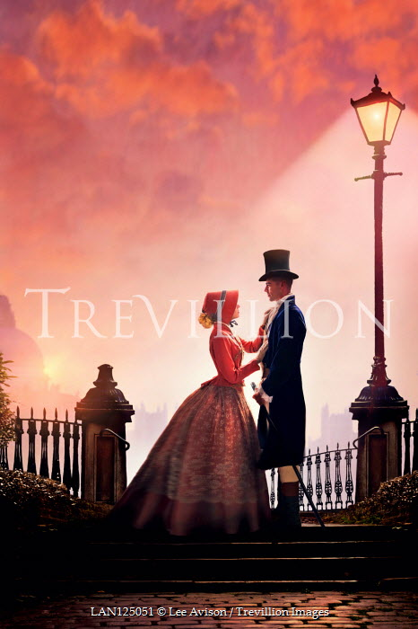 Lee Avison victorian couple beneath a street light
