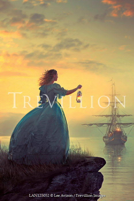 Lee Avison HISTORICAL WOMAN WITH LANTERN WATCHING SHIP AT SUNSET Women