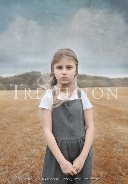 Anna Buczek BLONDE LITTLE GIRL STANDING IN FIELD Children