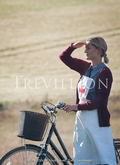 Mark Owen BLONDE NURSE WITH BICYCLE IN SUMMERY COUNTRYSIDE Women