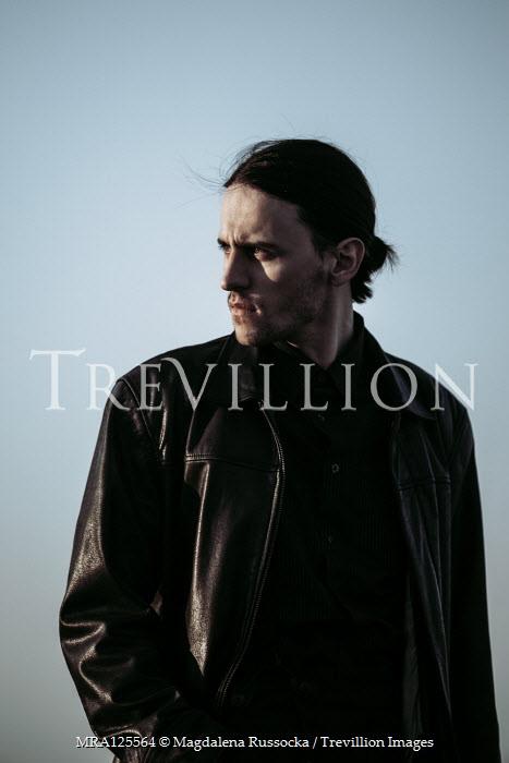 Magdalena Russocka modern man in leather jacket outside