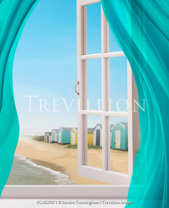 Sandra Cunningham BEACH HUTS WITH SEA AND OPEN WINDOW Houses
