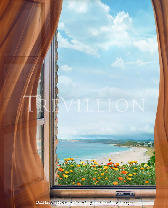 Sandra Cunningham OPEN WINDOW WITH SANDY BEACH IN SUMMER Seascapes/Beaches