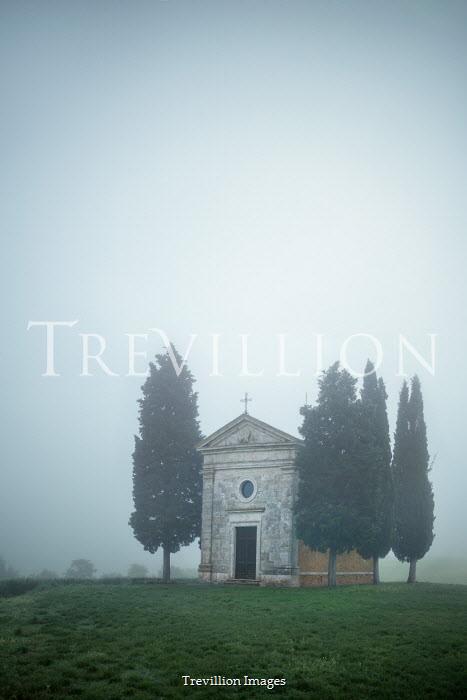 Evelina Kremsdorf ITALIAN CHAPEL IN FOGGY COUNTRYSIDE Religious Buildings
