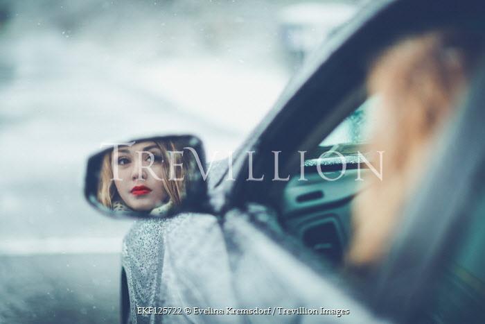 Evelina Kremsdorf BLONDE WOMAN IN CAR REFLECTED IN MIRROR Women