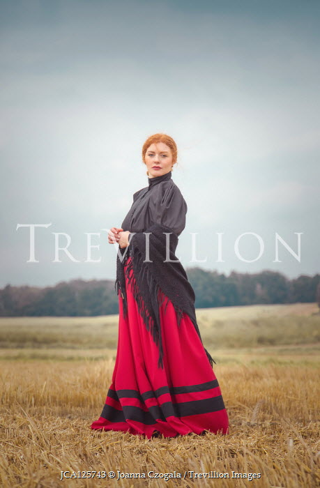 Joanna Czogala HISTORICAL WOMAN WITH RED HAIR AND SHAWL IN COUNTRYSIDE Women