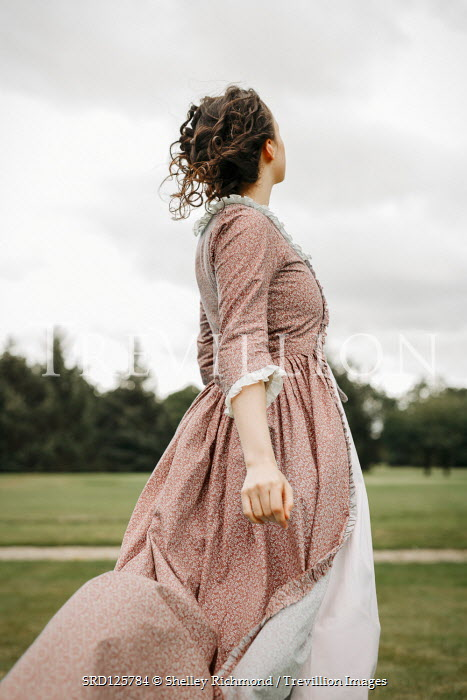 Shelley Richmond HISTORICAL WOMAN IN FLORAL DRESS OUTDOORS Women