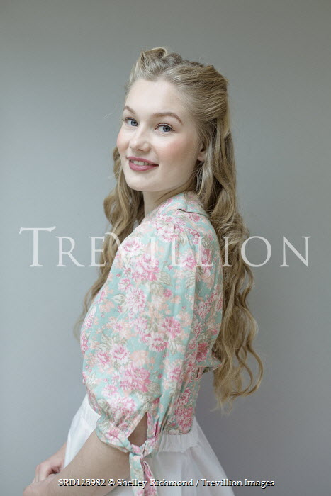 Shelley Richmond HAPPY BLONDE GIRL WITH FLORAL BLOUSE Women