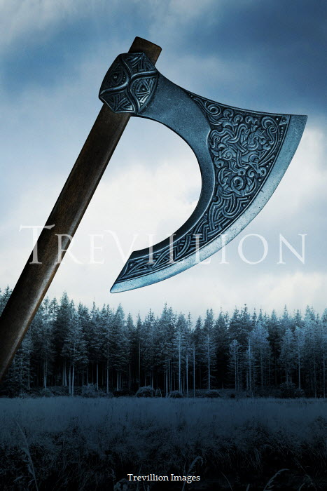 CollaborationJS ENGRAVED SILVER AXE WITH FOREST Weapons