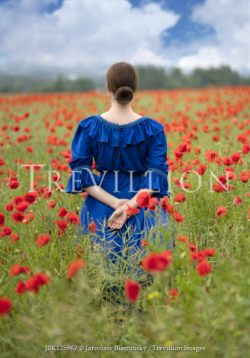 Jaroslaw Blaminsky HISTORICAL WOMAN IN FIELD OF POPPIES Women
