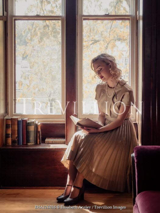 Elisabeth Ansley BLONDE WOMAN SITTING BY WINDOW READING Women