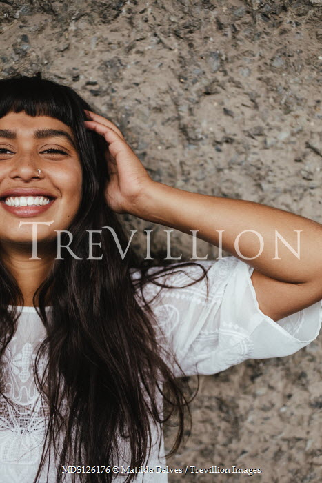 Matilda Delves SMILING INDIAN GIRL IN WHITE LACY TOP Women