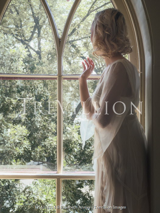 Elisabeth Ansley BLONDE WOMAN AT WINDOW WATCHING GARDEN Women