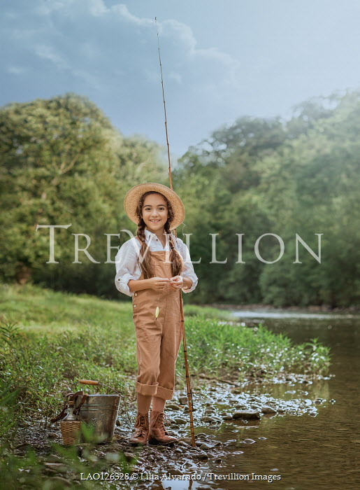 Lilia Alvarado LITTLE GIRL WITH FISHING ROD BY RIVER Children