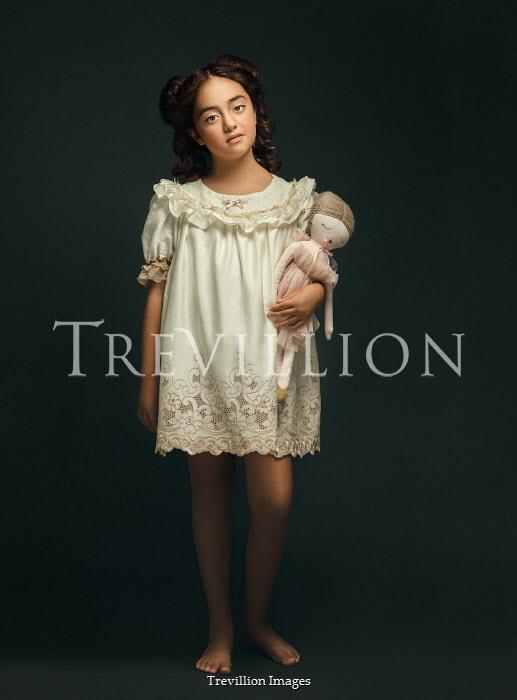 Lilia Alvarado GIRL IN NIGHTDRESS HOLDING DOLL Children