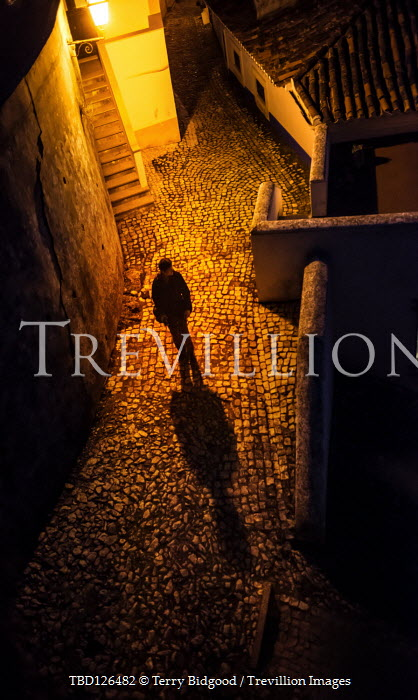 Terry Bidgood MAN WITH SHADOW STANDING IN COBBLED STREET AT NIGHT Men