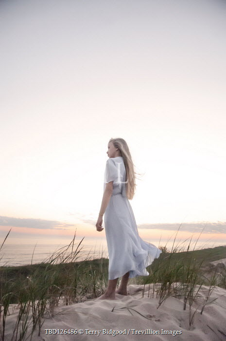 Terry Bidgood BLONDE GIRL ON SAND DUNE WATCHING SEA Women