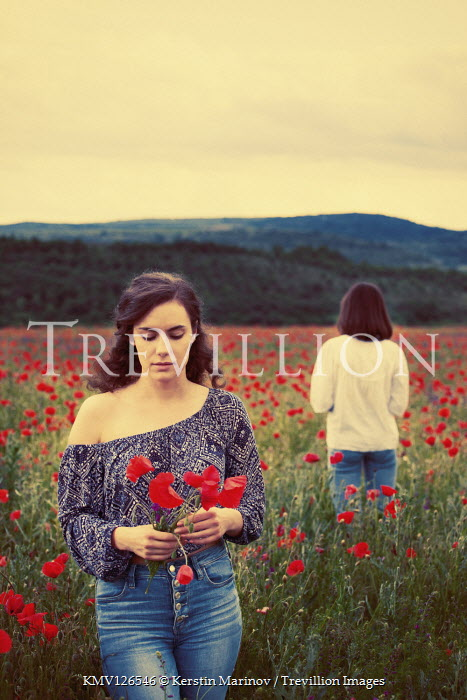 Kerstin Marinov TWO BRUNETTE WOMEN IN POPPY FIELD Women