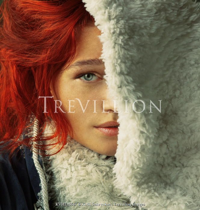 Kirill Sakryukin WOMAN WITH RED HAIR COVERED WITH FUR SCARF Women